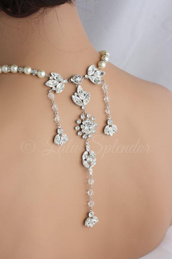 Bridal Backdrop Necklace Crystal Wedding Back Drop by LuluSplendor