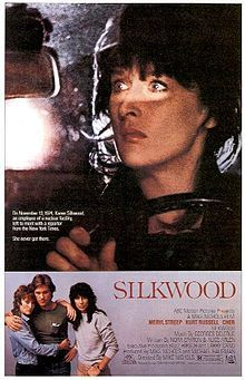 Silkwood - based on the real life story of Karen Silkwood - great cast with Meryl Streep, Kurt Russell and Cher. Meryl Streep's character, Karen Silkwood, is an employee at fuel site that manufactures plutonium rods for nuclear power plants. When the plant falls behind in production they begin to cut corners and falsify safety records putting the employees at risk. Silkwood begins to gather evidence - but there are risks that come with being a whistle blower