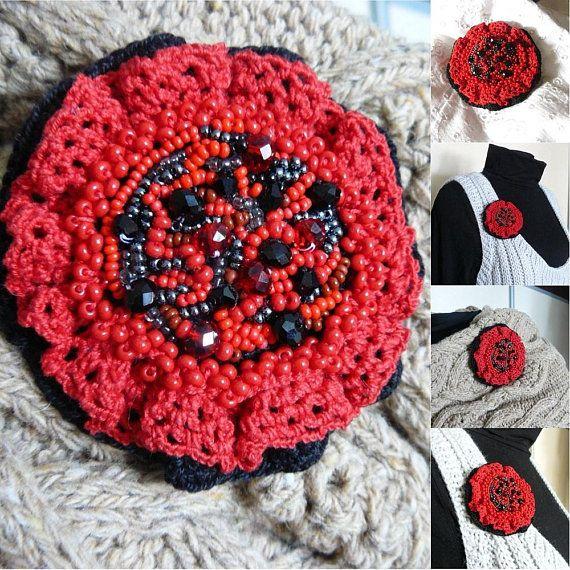 Unique red fiber brooch Modern beaded brooch women Gift idea #fiberbrooch #uniquebrooch #redbrooch #beadedbrooch #modernbrooch #crochetbrooch #beadedjewelry #gifts #giftsideas #giftforher