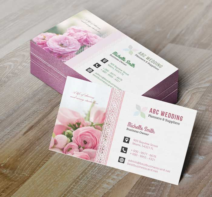 4 Wedding Business Card Templates in PSD #BestBusinessCards