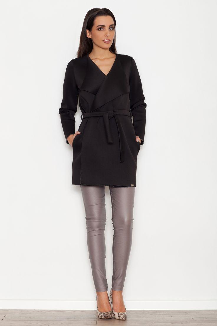 Czarny zawiązywany płaszcz damski