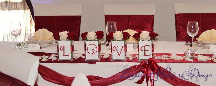 Esküvői dekoráció, főasztal dekoráció