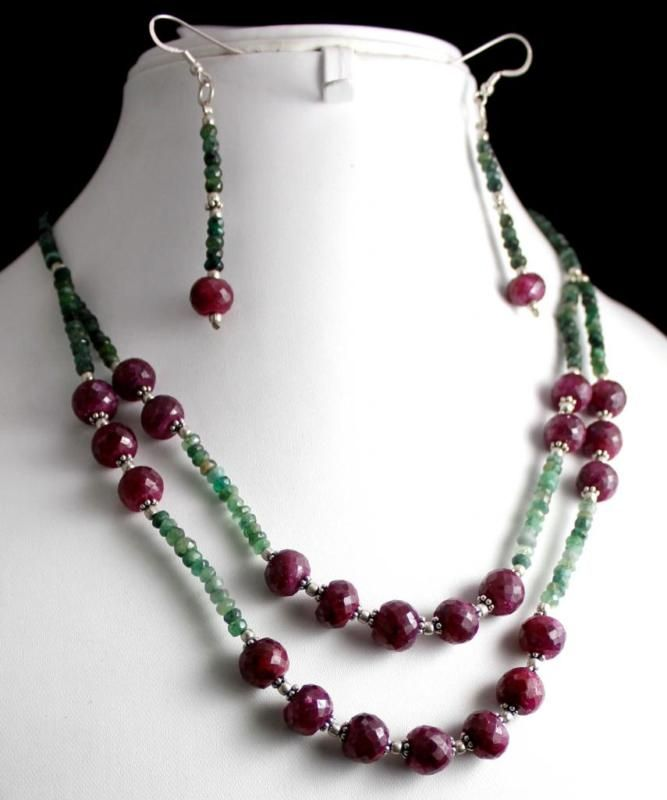 303ct Silver 925 Natural Ruby Emerald Gemstone Jewlery Necklace Earrings Set(kgr303ct),for further details,visit us at www.krishnagemsnj...