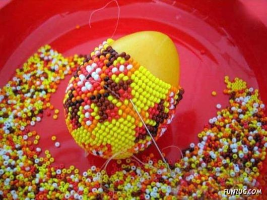 Beading an egg.  so much energy