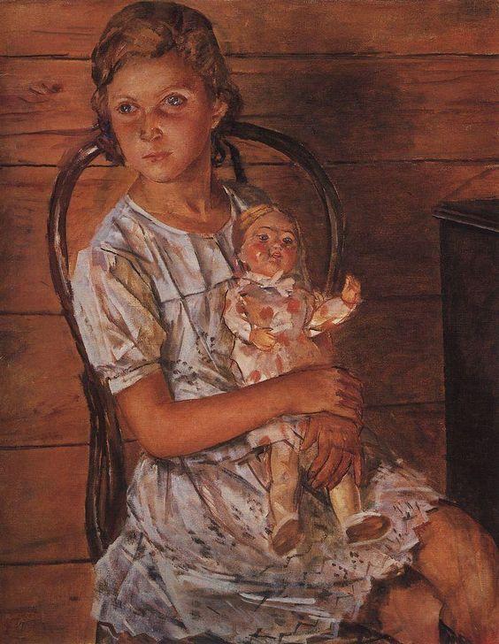 Girl with a Doll - Kuzma Petrov-Vodkin: