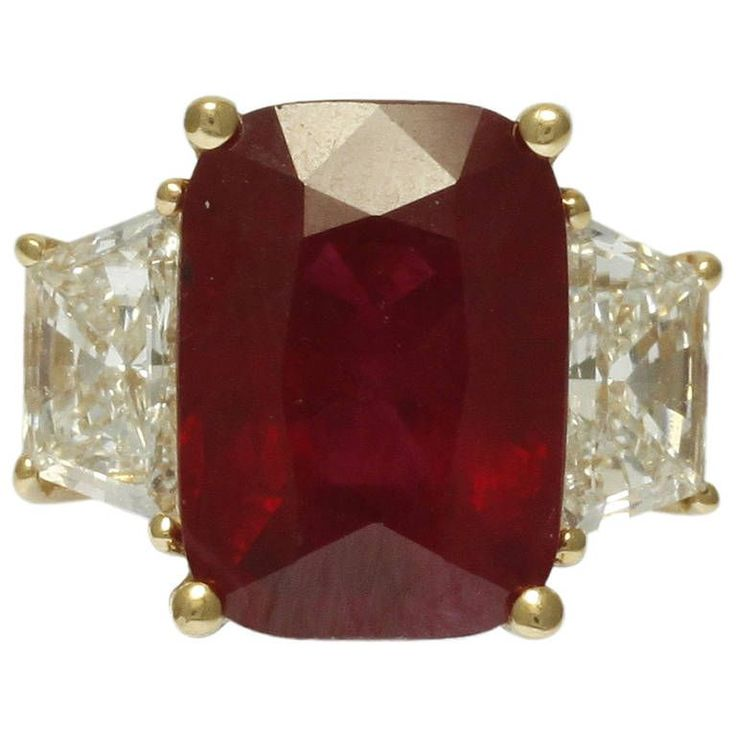 5.08 Carat Natural Ruby Diamond Ring | From a unique collection of vintage cocktail rings at https://www.1stdibs.com/jewelry/rings/cocktail-rings/