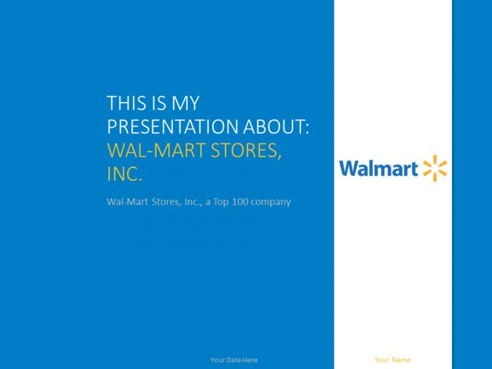 Free Wal-Mart PowerPoint template with white and blue colors