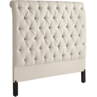 Audrey's elegant diamond tufting is created by embedding individually applied covered buttons into thickly padded, hand-upholstered flax. On the reverse, a classic rolled back completes the pageantry. A headboard for those with a taste for timeless style.