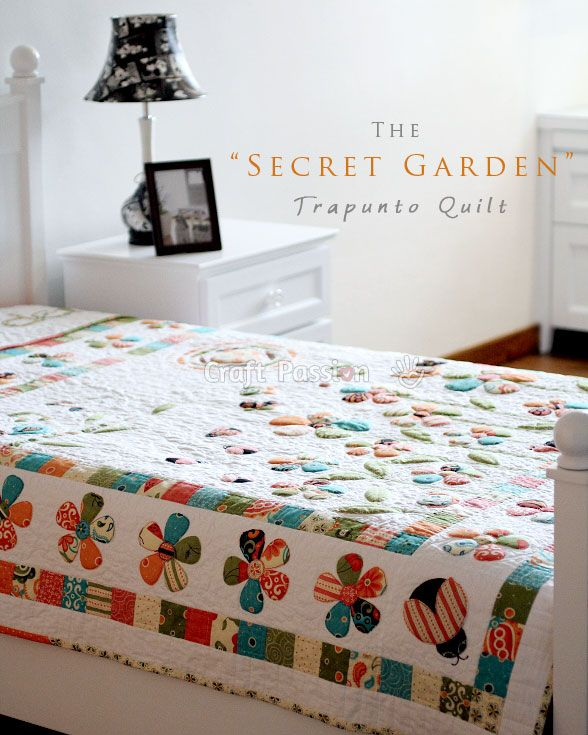 Secret Garden quilt pattern that completes with flowers, ladybugs, butterflies, snails, songbirds and many other details. Free quilt pattern. - Page 2 of 2