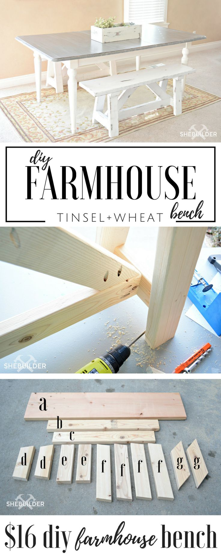 Build your very own farmhouse bench by following these step by step pictures and instructions. Its easier than you may think!