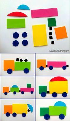 A los niños se les entrega distintas formas (círculos, cuadrados, rectángulos...) de gran variedad de colores y tamaños y se les pide que con ellos creen distintos dibujos.