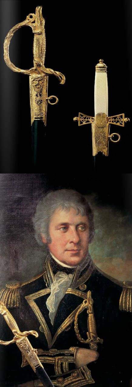 """The rare and highly important """"BATTLE OF THE NILE"""" sword together with it's companion Dirk, Captain Robert Cuthbert, Royal Navy, ca 1799. (PF #40 2005 )"""