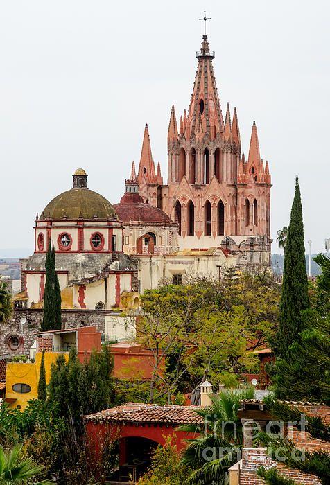 Rooftop View Of La Parroquia De San Miguel Arcangel. The Parroquia for short, this is the most iconic building in San Miguel de Allende, Mexico.  Fine Art Photography  http://rob-huntley.artistwebsites.com  © Rob Huntley