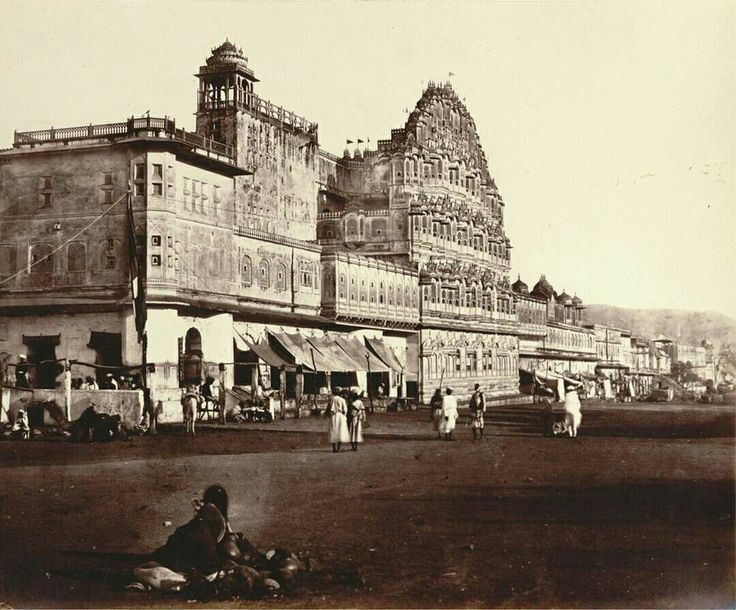 Hawa mahal of Jaipur.. built by maharaja Pratap Singh of Jaipur who was great devotee of Krishna and palace created like shape of crown of Krishna.. photo captured in 1890s