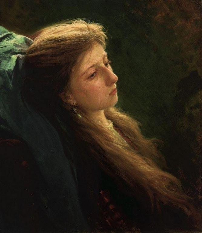 """Иван Крамской """"Девушка с распущенной косой"""" 1873"""