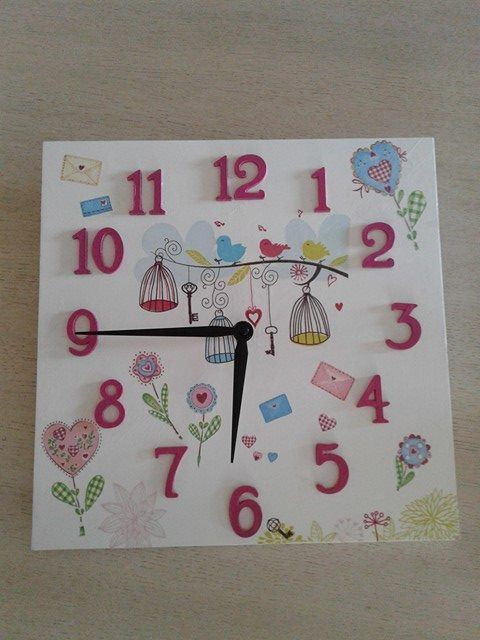 clock - decoupage - nursery room