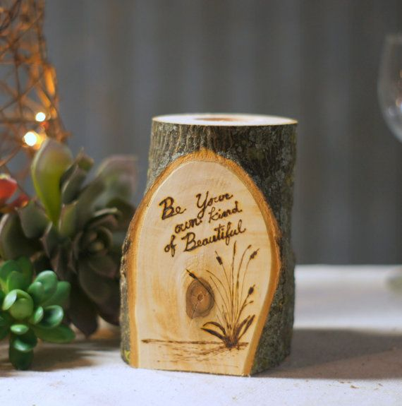 Burned log candle holder rustic home decor reclaimed for Gifts for home decor