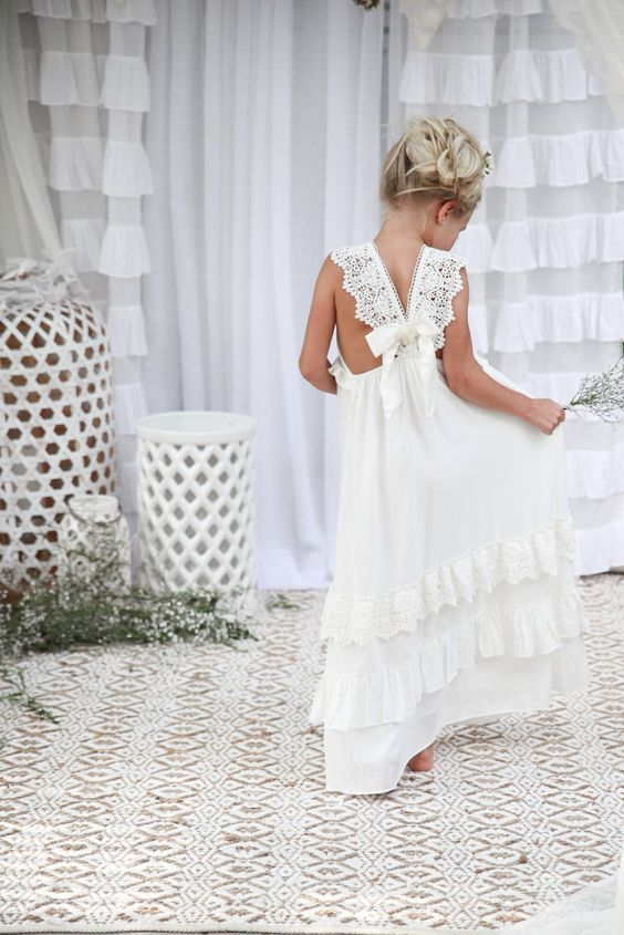 white Ivory Bohemian Flower girl dresses
