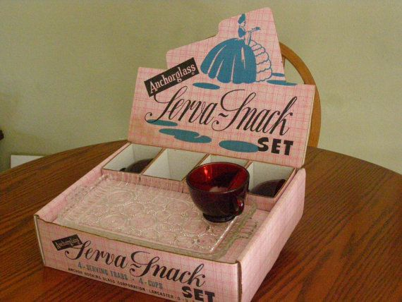 Vintage Early Anchor Glass Serv a Snack Colonial Lady by parkie2, $39.75