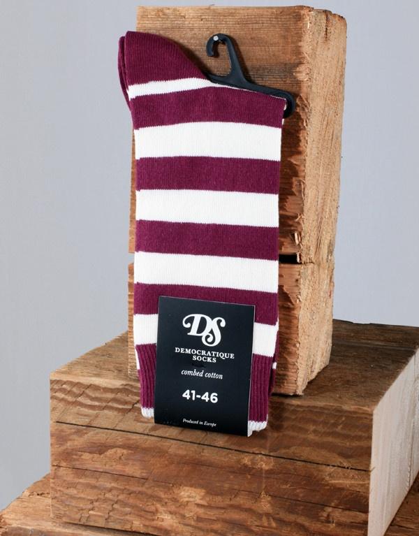 Democratique Socks Striped Sock - Burgundy/White