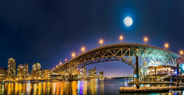 Full Moon Over Granville St. Bridge - Granville Island, Vancouver | by Winson Tang on Flickr