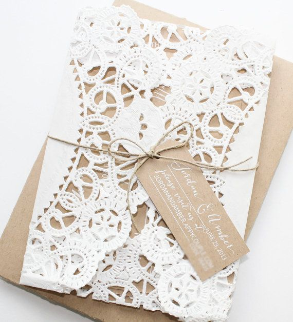 THANK YOU LIZ:) Our invites are gorgeous and you did a fantastic job!!! Rustic Kraft Paper Doily Invitations by elizabethknick on Etsy, $3.50