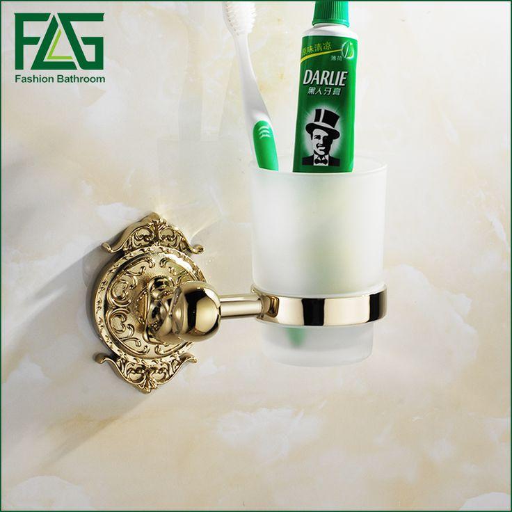 FLG Bathroom tumbler holder Wall Mounted Single Cup Holder Toothbrush Tumbler Holder Chrome/Gold Finish Bathroom Accessories