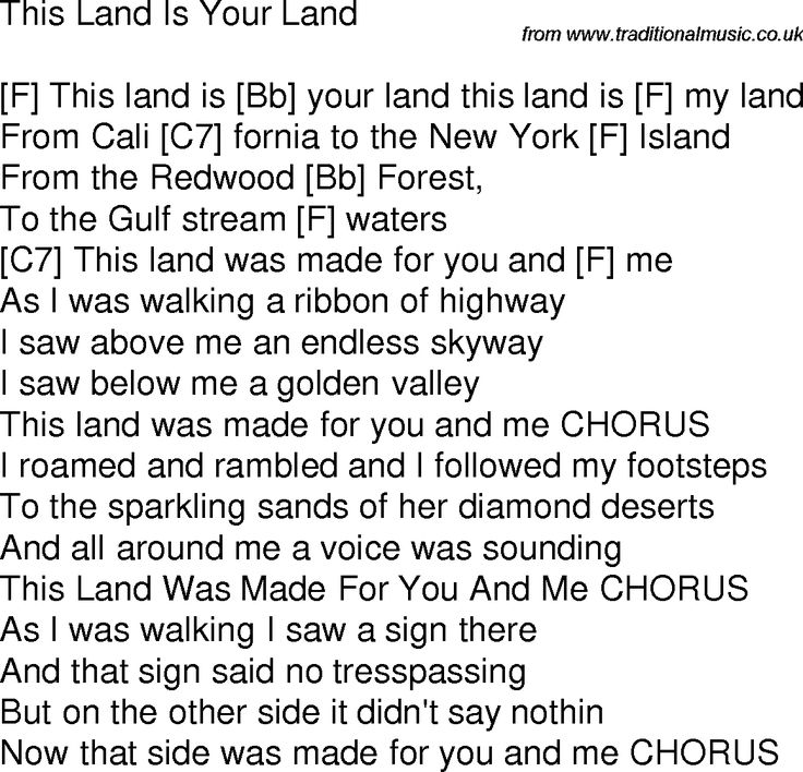 Old Time Song Lyrics With Chords For This Land Is Your
