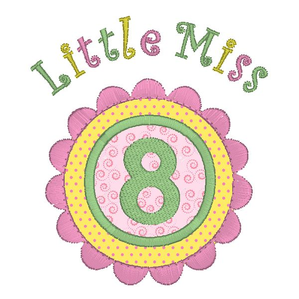 Little Miss 8 Applique (JGS00022-12)