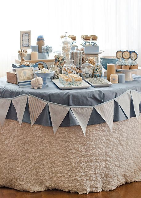 Blue & Brown Jungle Baby Shower (Dessert Table) by Seriously Daisies, via Flickr