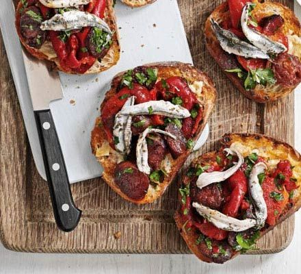 Serve John Torode's vibrant Spanish-inspired toasts as a starter or party nibble
