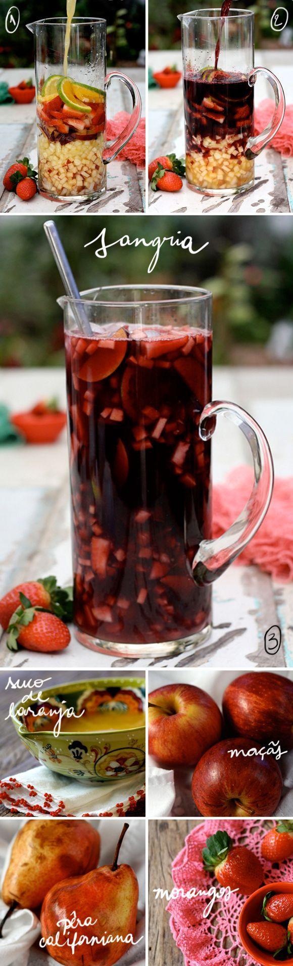 Vira e mexe fazemos sangria aqui em casa - uma de nossas bebidas favoritas, perfeita para acompanhar um fim de tarde no jardim. Boa pedida para o feriadão!