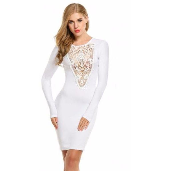 Lace Long Sleeve Pencil Bodycon Dress ❤ liked on Polyvore featuring dresses, white pencil dress, long sleeve bandage dress, white bandage dress, long sleeve pencil dress and long-sleeve lace dresses