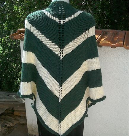 Hand knitted green and cream striped triangle shape shawl / wrap Lovely soft shawl knitted in a soft mixed fibre yarn - Triangle shape - knitted in stocking stitch Size - (approx - unstretched) 35 (89 cm) length x 68 (172cm) width at top Material - 25% alpaca 35% wool 40% acrylic Colours may appear different on different monitors - Please use zoom feature for a closer view of colour
