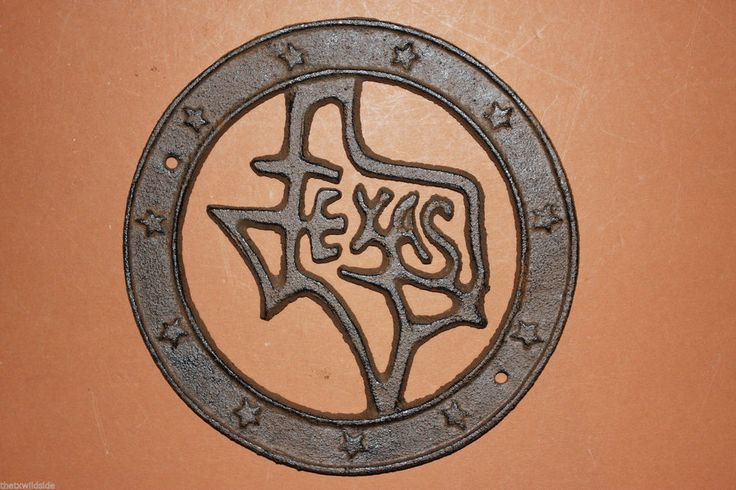 "(1)pc, STATE OF TEXAS WALL DECOR, RUSTIC TEXAS HOME DECOR, CAST IRON 6"", W-23"