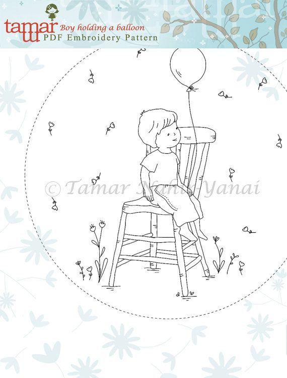 Welcome to my shop.  This listing is for a PDF Download of the Embroidery Pattern:  Boy holding a balloon    Included in the PDF file:  Black and