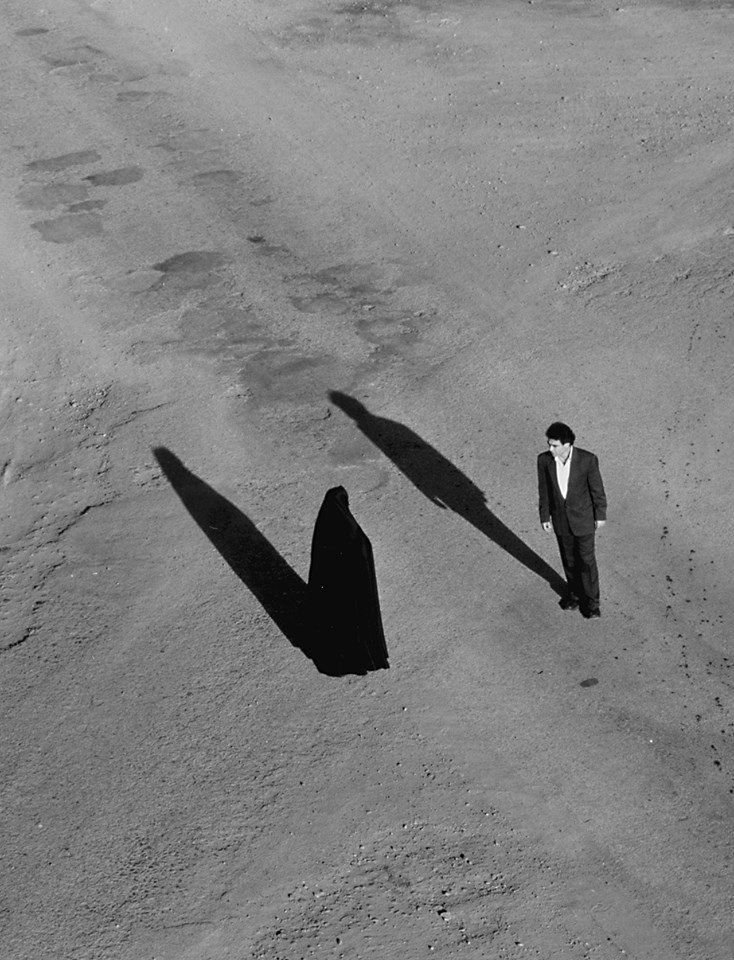 "Shirin Neshat - Production stills from ""Fervor,"" 2000 (Video/sound installation with two channels of black and white video projected on two screens, 10 minutes)"