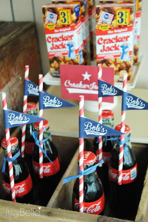 baseball party - like the old school coke bottles and personalized pennants