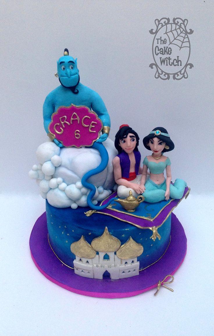 Aladdin Birthday Cake - Aladdin, Jasmine, Genie Sugar Figurines