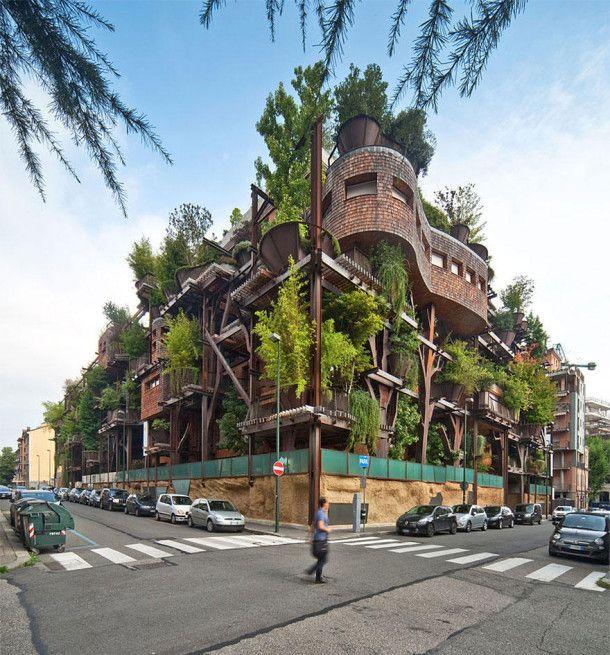 Un immeuble de 5 étages conçu au coeur d'une végétation
