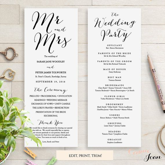 Wedding Programs Instant Download Template. Sweet Bomb. Edit, Print, Trim |  DIY