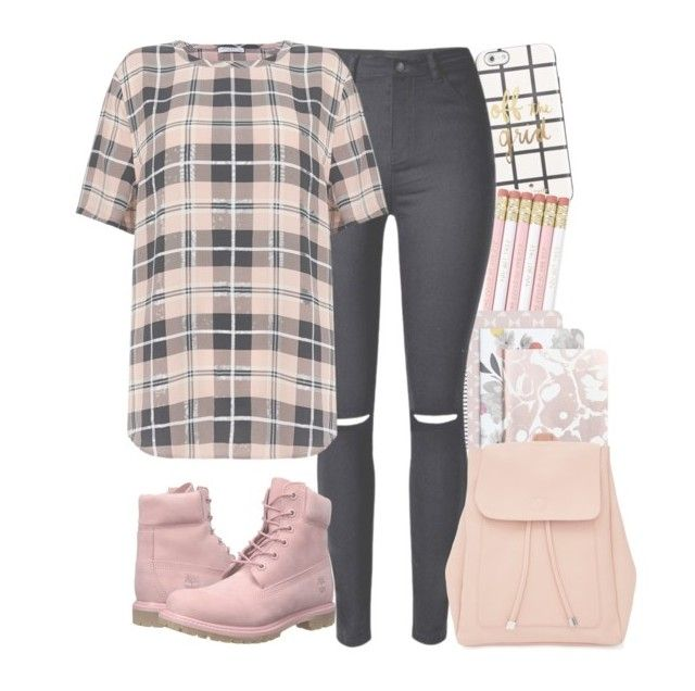 """""""Pink (3)"""" by forever-lover1 ❤ liked on Polyvore featuring Kate Spade, Caroline Gardner, Timberland, Equipment and New Look"""