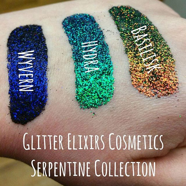 Glitter Elixirs Cosmetics Serpentine Collection. color shifting / duo chrome glitters either pressed or loose. Indie makeup