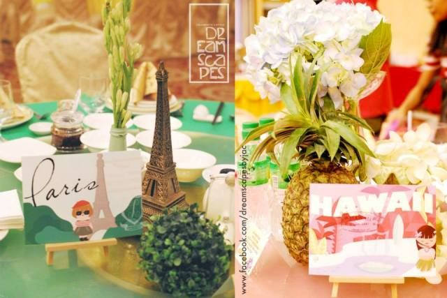 Xari s it a small world themed party centerpieces