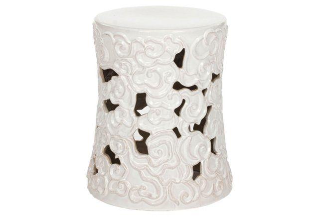 Adele Ceramic Garden Stool, White