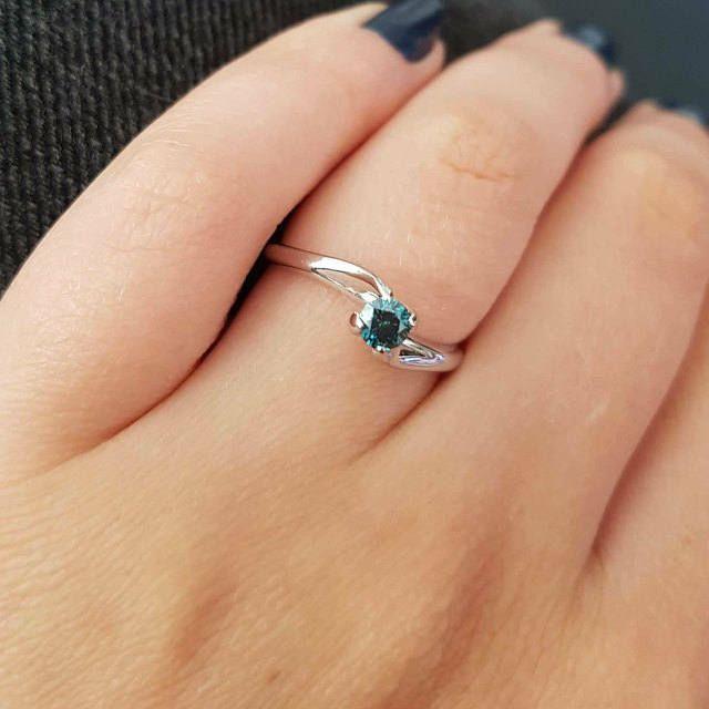 Natural Blue Diamond Proposal Gold Ring Blue Engagement