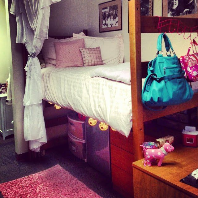 Bed risers with pullout storage bins and hooks on the end of a bed can add a lot of storage in a little space for your college dorm room