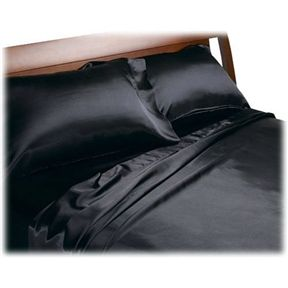 California King size Satin Sheet Set in Black | Top Home Decor Expo