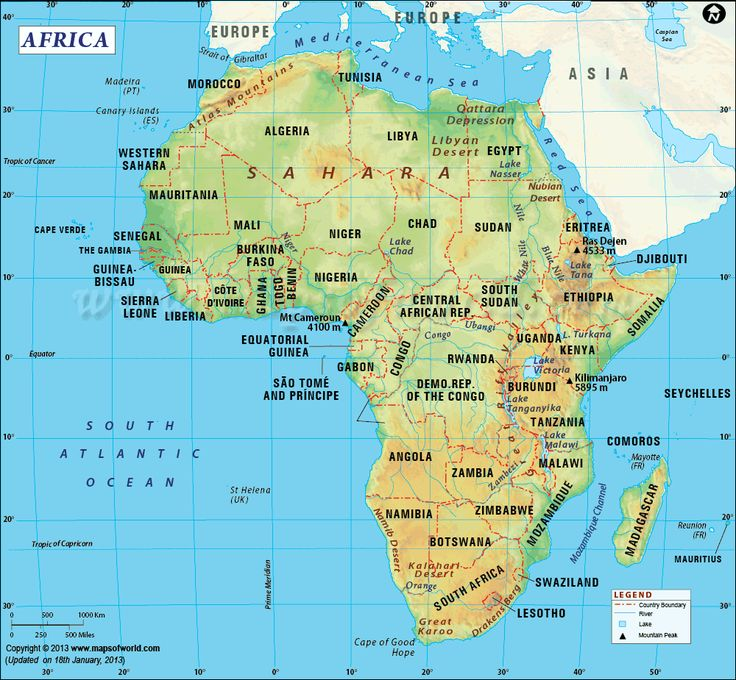 Second-largest continent, area of 11,668,599 sq miles.  & second most-populous. Africa has 54 countries. Bordered by the South Atlantic Ocean to the south west and the Mediterranean Sea to the north. Shown are the Sahara Desert region, Great Rift Valley, Libyan Desert, Kalahari Desert. River Nile is very significant. Other important rivers are River Congo, River Orange & River Ubangi.
