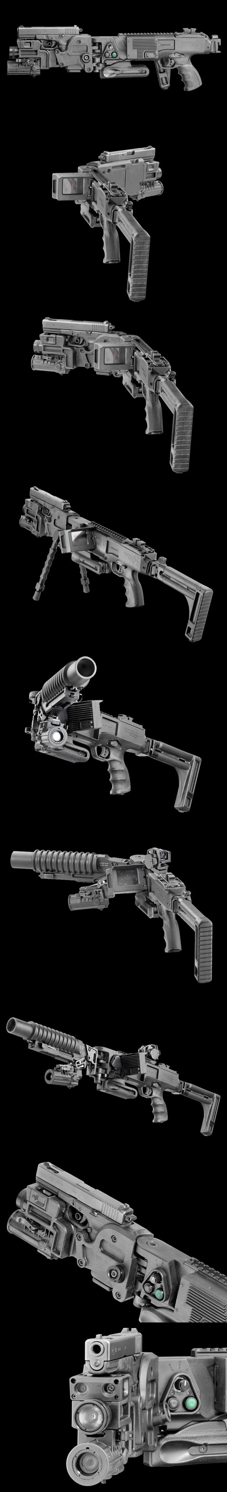 Israeli Corner Shot system with Glock 9mm and M203 Grenade launcher.